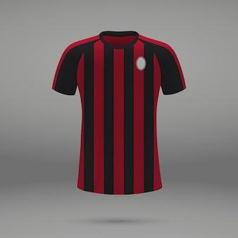 Football kit milan, shirt template for soccer jersey