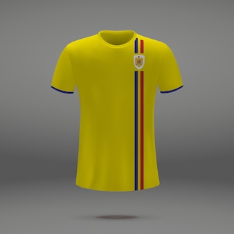 Football kit of romania, tshirt template for soccer jersey