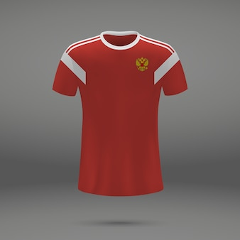 Football kit of russia, tshirt template for soccer jersey