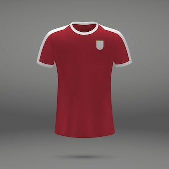 Football kit of serbia, tshirt template for soccer jersey