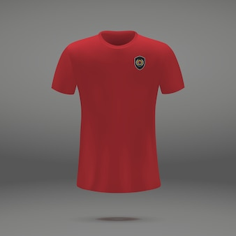 Football kit of south korea, tshirt template for soccer jersey