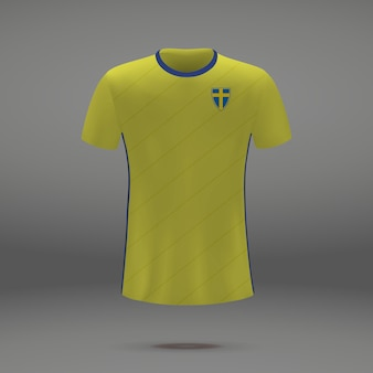 Football kit of sweden, tshirt template for soccer jersey