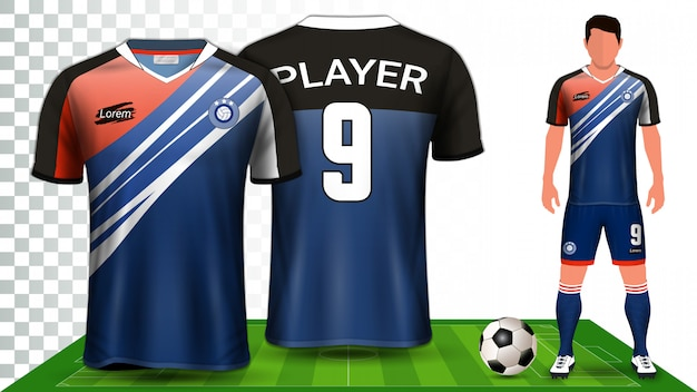 Football kit uniform presentation mockup template