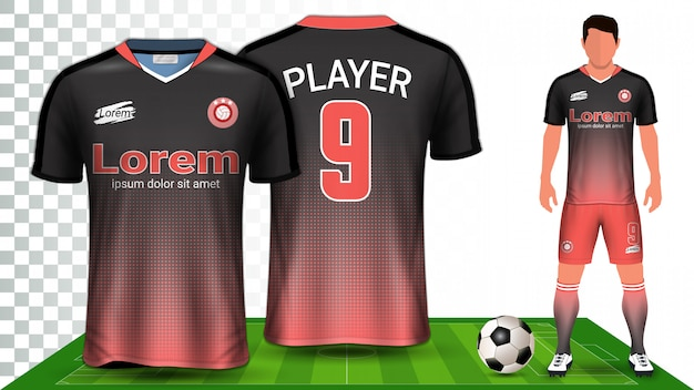 Football kit uniform presentation mockup template
