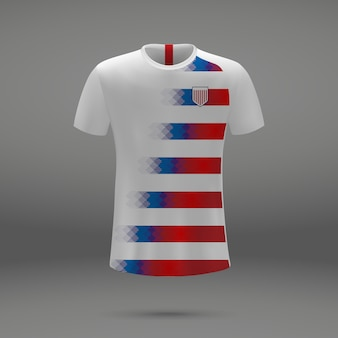 Football kit of usa, t-shirt template for soccer jersey.