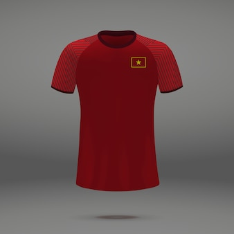 Football kit of vietnam, tshirt template for soccer jersey