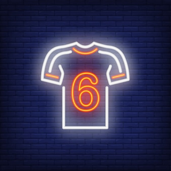 Football kit with player number on brick background. neon style illustration.
