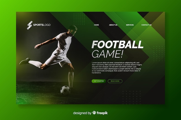 Football landing page with photo