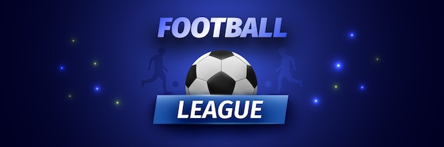Football league banner with black and white soccer ball.