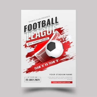 Football league poster design with realistic soccer ball and red brush effect