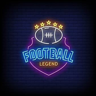 Football legend neon signs style text