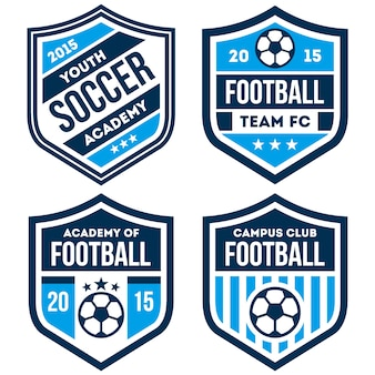 Football logo and badge set isolated in white background