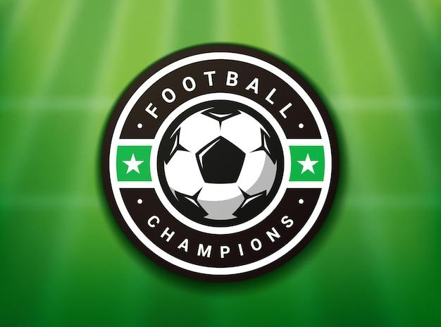フラットスタイルのサッカーボールスポーツゲームのサッカーのロゴ