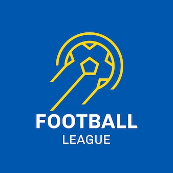 Modello di logo del calcio, grafica aziendale del club sportivo in un vettore di design moderno