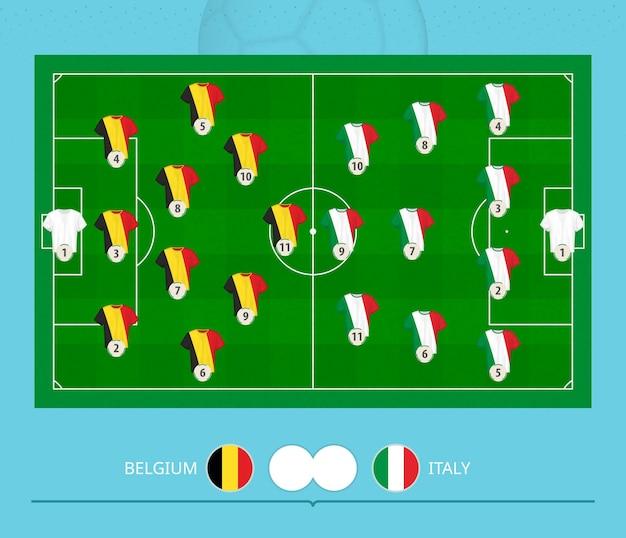 Футбольный матч бельгии против италии, команды предпочли систему расстановки на футбольном поле. векторная иллюстрация.