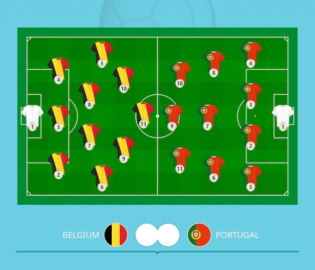 Football match belgium versus portugal, teams preferred lineup system on football field