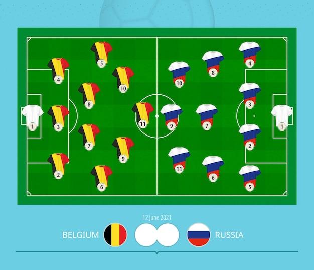 Football match belgium versus russia, teams preferred lineup system on football field.