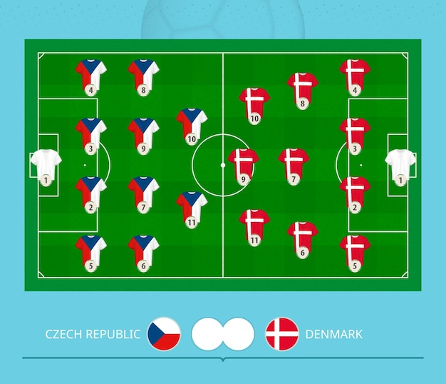 Football match czech republic versus denmark, teams preferred lineup system on football field. vector illustration.