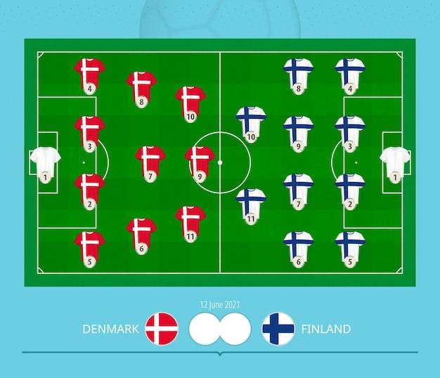 Football match denmark versus finland, teams preferred lineup system on football field.
