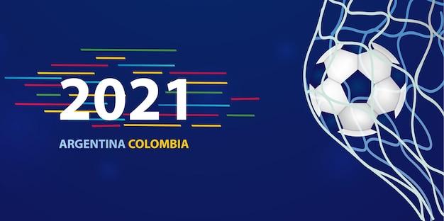 青い背景とレタリングイラストテンプレートとサッカーの試合のデザイン