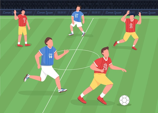 Football match flat . forward running towards enemy side. proffessional soccer team players 2d cartoon characters with huge stadium full of shouting fans