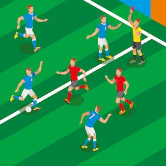 Футбольный матч изометрической композиции с игроками в виде соревнующихся команд и рефери, показывающим красную карточку