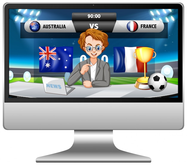 分離されたコンピューター画面上のサッカーの試合ニュース