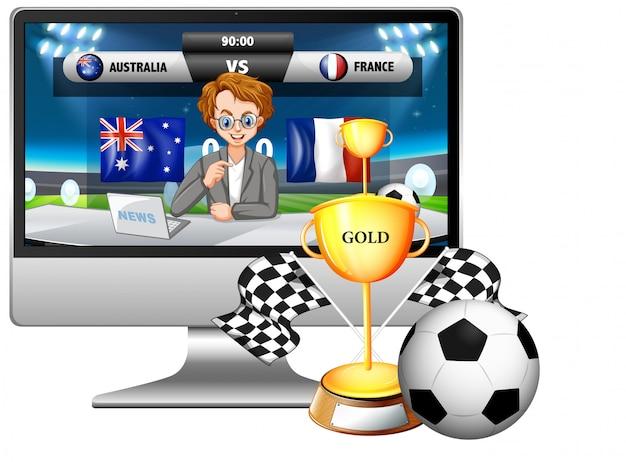 Новости футбольного матча на экране компьютера с изолированным трофеем и футболом