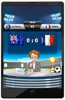 分離されたタブレット画面上のサッカーの試合ニュース