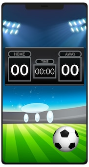 Football match news on smartphone screen isolated