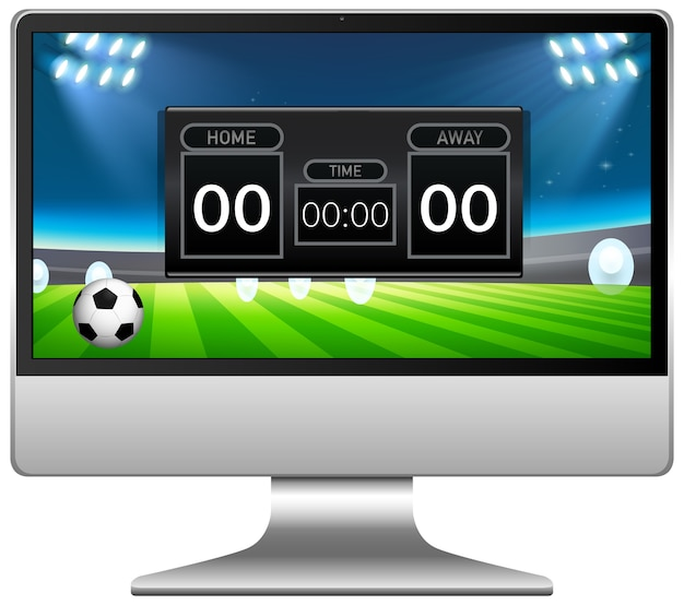 Football match score news on computer screen isolated