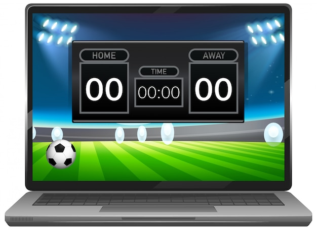 Football match score news on laptop screen isolated