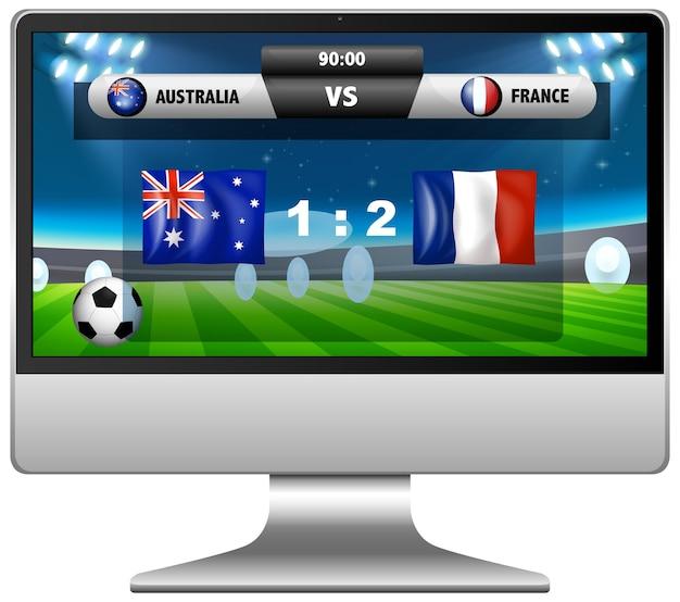 分離されたコンピューター画面上のサッカーの試合スコアニュース