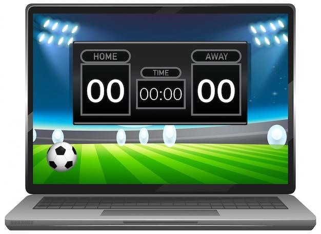 分離されたノートパソコンの画面でサッカーの試合スコアニュース