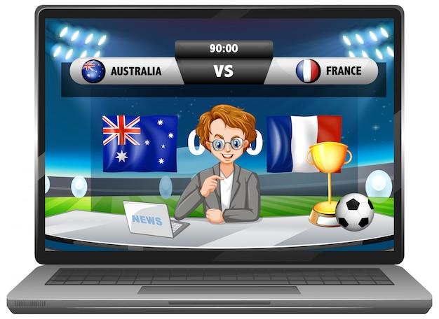 分離されたノートパソコンの画面のフットボールの試合スコアニュース