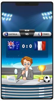 分離されたスマートフォンの画面でサッカーの試合スコアニュース