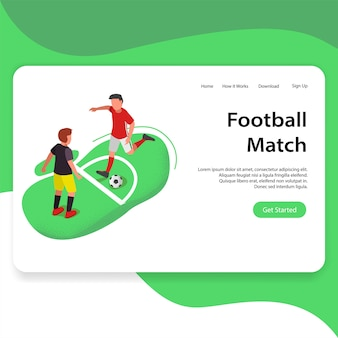 Football match or soccer illustration landing page