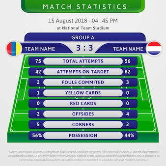 Football match statistics illustration template