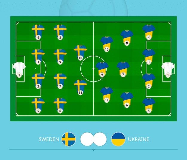サッカーの試合スウェーデン対ウクライナ、チームはサッカーのフィールドでラインナップシステムを好んだ