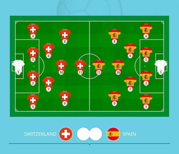 Football match switzerland versus spain, teams preferred lineup system on football field. vector illustration.