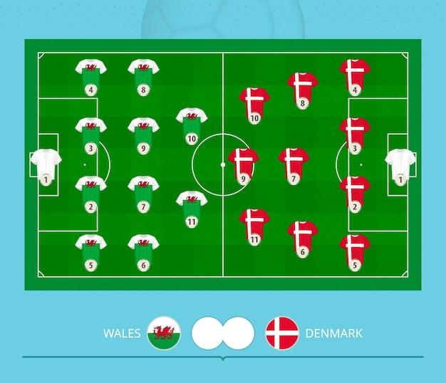 Football match wales versus denmark, teams preferred lineup system on football field