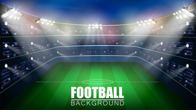 Football match. world championship stadium 3d vector background. soccer poster template.