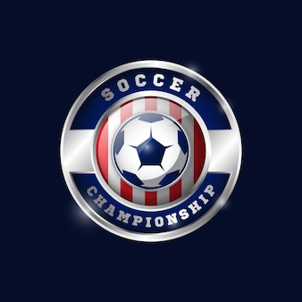 Football metallic medal design template 02