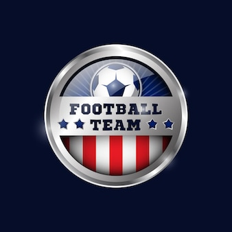 Football metallic medal design template 03