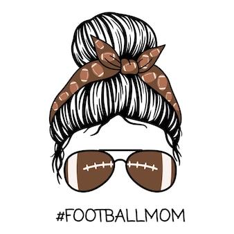 Football mom women with aviator glasses bandana women vector illustration