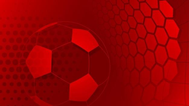 赤い色の大きなボールとサッカーやサッカーの背景