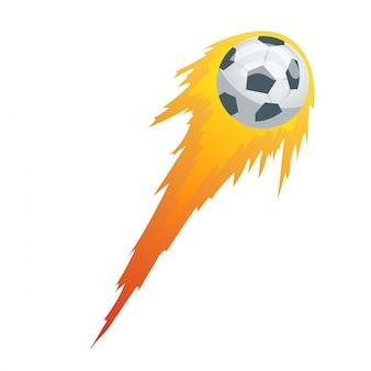 スポーツエンブレム、ロゴデザインの黒と白のモーショントレイルとサッカーまたはサッカーボール。湾曲したカラーモーショントレイルイラストのコレクションサッカーボール