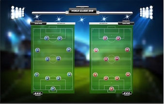 Football or soccer playing field with set of infographic elements
