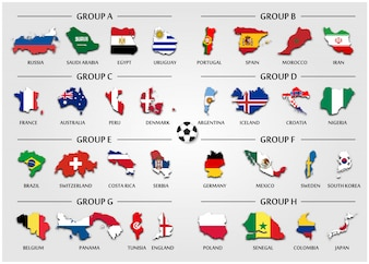 Football or Soccer team group set . Country map with national flag .