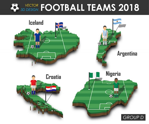 Football player and flag on 3d design country map.